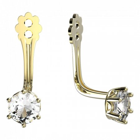 BeKid Gold earrings components 4 - Metal: Yellow gold 585, Stone: White cubic zircon