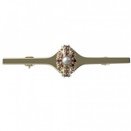 BG brooch 537I - Metal: Silver - gold plated 925, Stone: Garnet and pearl