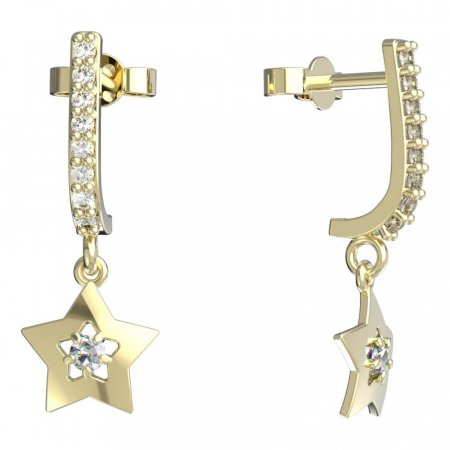 BeKid, Gold kids earrings -824 - Switching on: Brizura 0-3 roky, Metal: Yellow gold 585, Stone: White cubic zircon