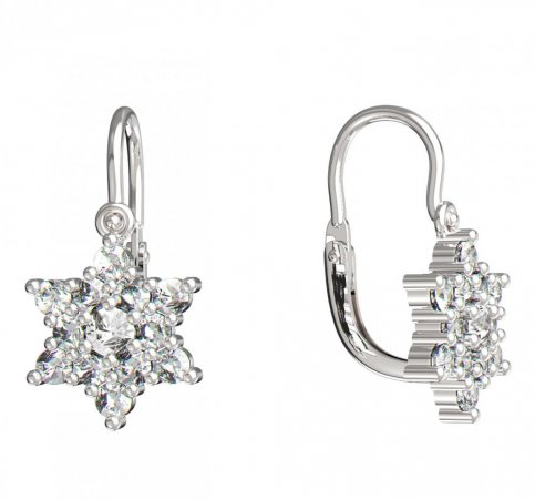 BeKid, Gold kids earrings -090 - Switching on: Brizura 0-3 roky, Metal: White gold 585, Stone: White cubic zircon