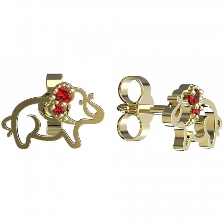BeKid, Gold kids earrings -1158 - Switching on: Puzeta, Metal: Yellow gold 585, Stone: Red cubic zircon
