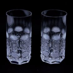 Set of two crystal hand cut water drains Šafránek 634 ORQQI0060