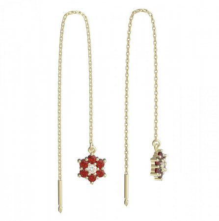 BeKid, Gold kids earrings -109 - Switching on: Chain 9 cm, Metal: Yellow gold 585, Stone: Red cubic zircon