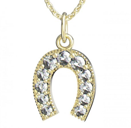 BeKid, Gold kids pendant -025 - Metal: Yellow gold 585, Stone: White cubic zircon