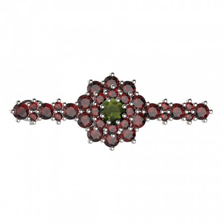 BG brooch 011 - Metal: White gold 585, Stone: Moldavit and garnet