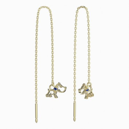 BeKid, Gold kids earrings -1159 - Switching on: Chain 9 cm, Metal: Yellow gold 585, Stone: Dark blue cubic zircon