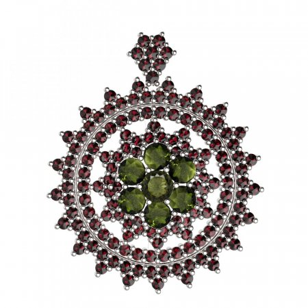 BG brooch 230 - Metal: Silver - gold plated 925, Stone: Moldavit and garnet