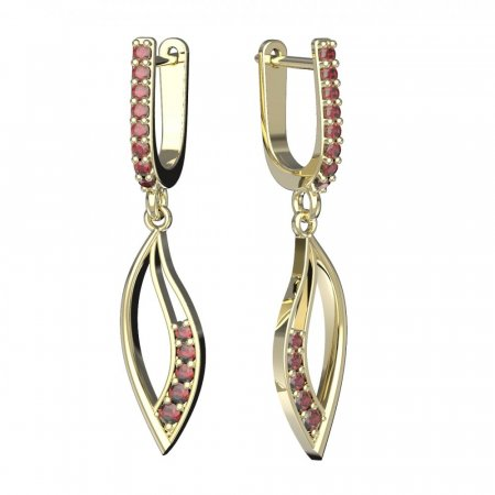 BG circular earring 2462-91 - Metal: Yellow gold 585, Stone: Garnet