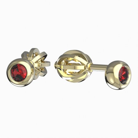 BeKid, Gold kids earrings -101 - Switching on: Screw, Metal: Yellow gold 585, Stone: Red cubic zircon