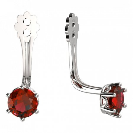 BeKid Gold earrings components 4 - Metal: White gold 585, Stone: Red cubic zircon