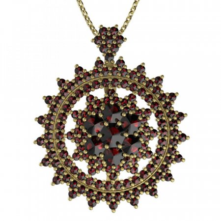 BG brooch 230 - Metal: White gold 585, Stone: Moldavit and garnet
