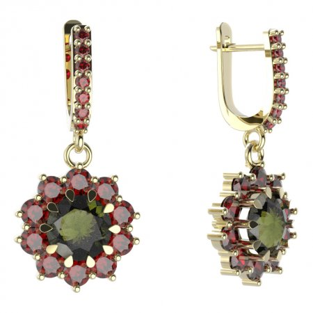 BG circular earring 011-84 - Metal: Silver - gold plated 925, Stone: Moldavit and garnet