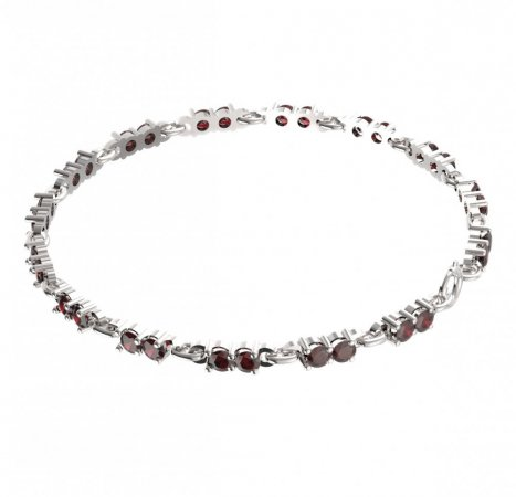 BG bracelet 196 - Metal: Yellow gold 585, Stone: Moldavit and garnet