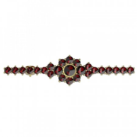 BG brooch 017 - Metal: Silver - gold plated 925, Stone: Garnet