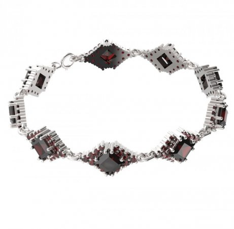 BG bracelet 427 - Metal: White gold 585, Stone: Moldavit and garnet