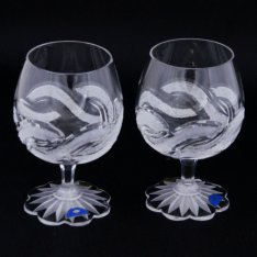 Set of two crystal handmade cutlery cups for cognac Šafránek 653