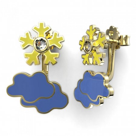 BeKid Gold earrings components -   Clouds - Metal: White gold 585, Stone: White cubic zircon
