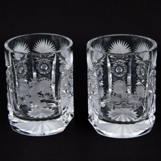 set of two crystal hand cut glasses Šafránek 3602+3603