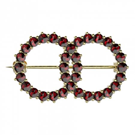BG brooch 027 - Metal: Yellow gold 585, Stone: Garnet