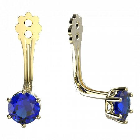 BeKid Gold earrings components 4 - Metal: Yellow gold 585, Stone: Dark blue cubic zircon