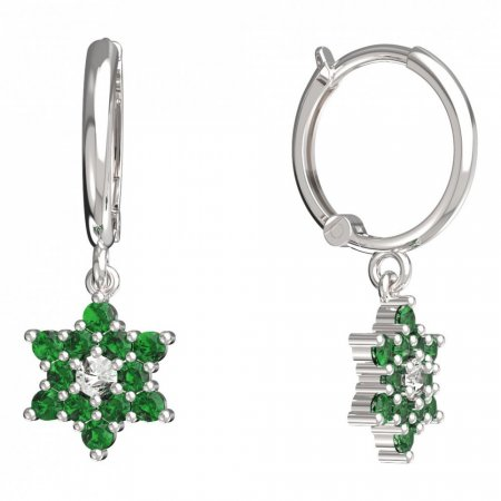 BeKid, Gold kids earrings -090 - Switching on: Circles 12 mm, Metal: White gold 585, Stone: Green cubic zircon