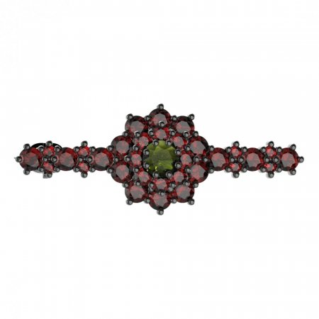 BG brooch 011 - Metal: Silver - gold plated 925, Stone: Moldavit and garnet