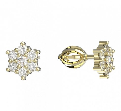 BeKid, Gold kids earrings -109 - Switching on: Brizura 0-3 roky, Metal: Yellow gold 585, Stone: Pink cubic zircon