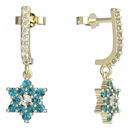 BeKid, Gold kids earrings -090 - Switching on: Pendant hanger, Metal: Yellow gold 585, Stone: Light blue cubic zircon