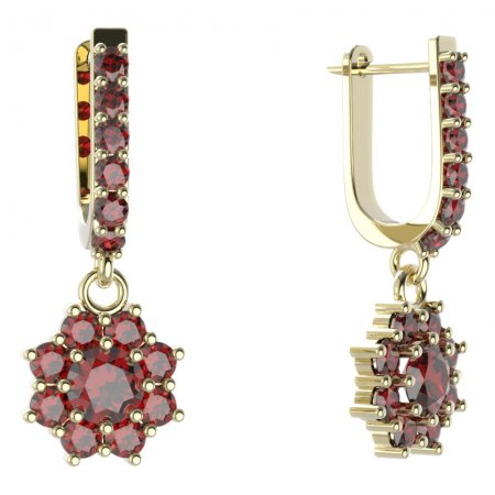 BG circular earring 023-94 - Metal: Silver - gold plated 925, Stone: Moldavit and garnet