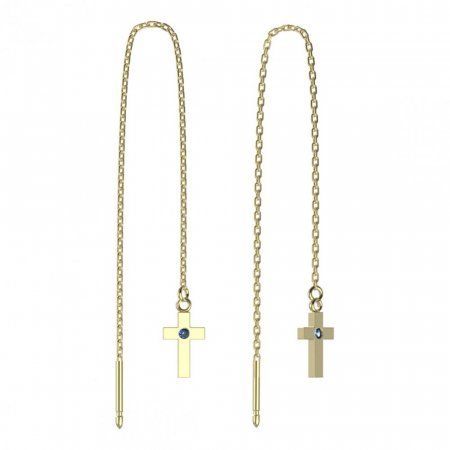 BeKid, Gold kids earrings -1105 - Switching on: Chain 9 cm, Metal: Yellow gold 585, Stone: Light blue cubic zircon