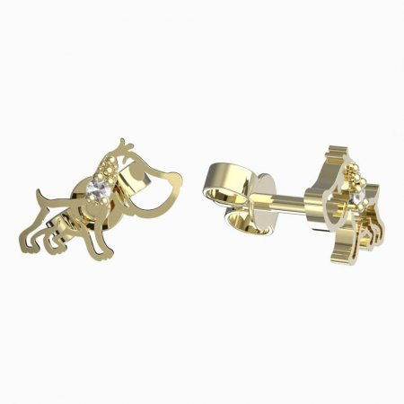 BeKid, Gold kids earrings -1159 - Switching on: Puzeta, Metal: White gold 585, Stone: Green cubic zircon