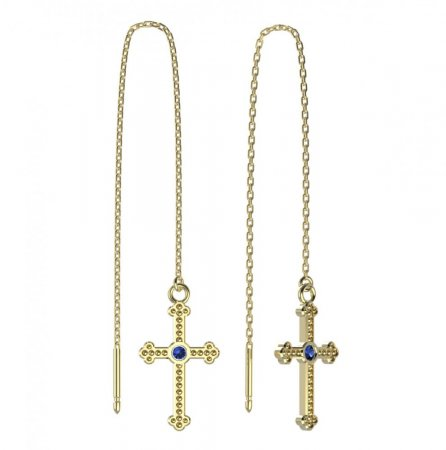 BeKid, Gold kids earrings -1110 - Switching on: Chain 9 cm, Metal: Yellow gold 585, Stone: Dark blue cubic zircon