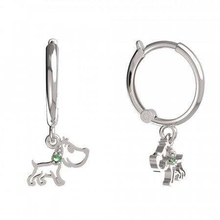 BeKid, Gold kids earrings -1159 - Switching on: Circles 12 mm, Metal: White gold 585, Stone: Green cubic zircon