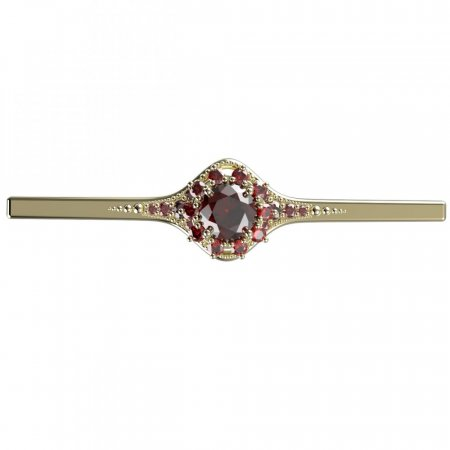 BG brooch 511K - Metal: White gold 585, Stone: Moldavit and garnet