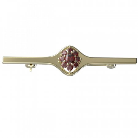 BG brooch 627I - Metal: Silver 925 - rhodium, Stone: Moldavit and garnet