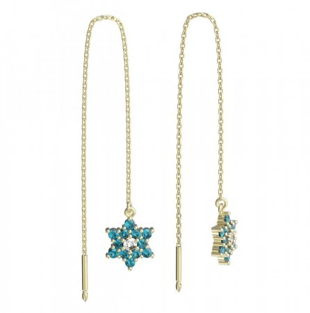 BeKid, Gold kids earrings -090 - Switching on: Chain 9 cm, Metal: Yellow gold 585, Stone: Light blue cubic zircon