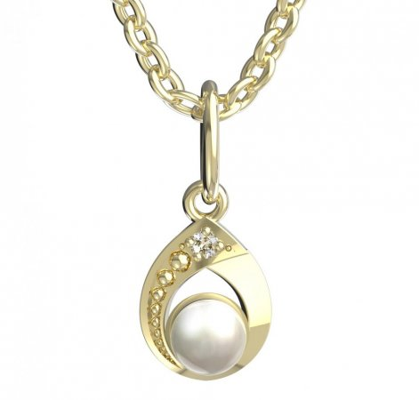 BeKid, Gold kids pendant -1242 - Metal: Yellow gold 585, Stone: White cubic zircon