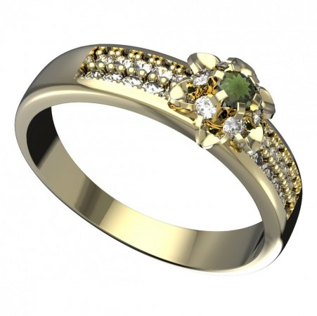 BG moldavit ring - 878F - Metal: White gold 585, Stone: Moldavite and diamond