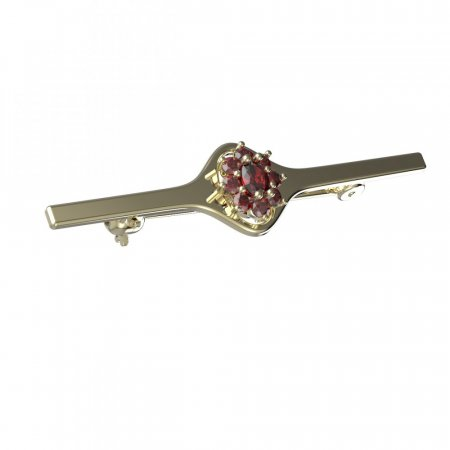 BG brooch 627I - Metal: Silver - gold plated 925, Stone: Moldavite and cubic zirconium