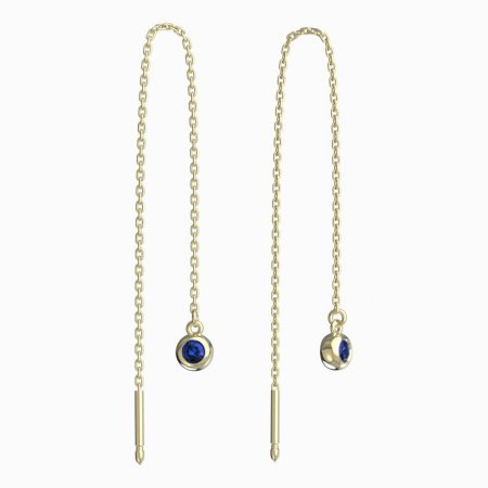 BeKid, Gold kids earrings -101 - Switching on: Chain 9 cm, Metal: Yellow gold 585, Stone: Dark blue cubic zircon