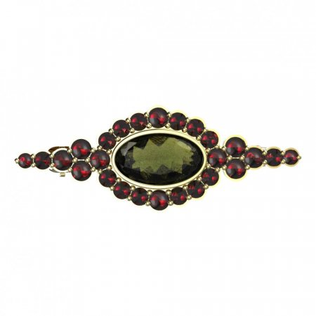 BG brooch 355 - Metal: White gold 585, Stone: Moldavite and cubic zirconium