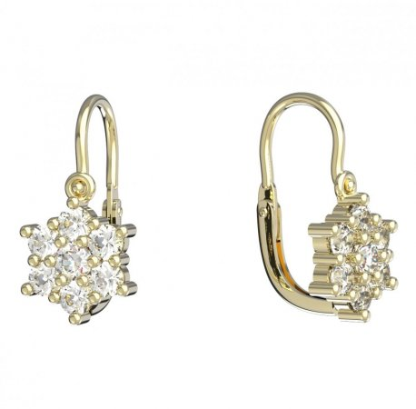 BeKid, Gold kids earrings -109 - Switching on: English, Metal: Yellow gold 585, Stone: Red cubic zircon