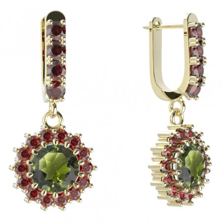 BG circular earring 096-96 - Metal: Silver - gold plated 925, Stone: Moldavit and garnet