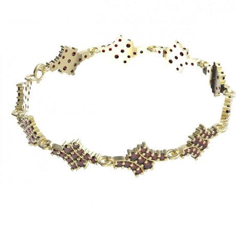 BG bracelet 077 - Metal: Yellow gold 585, Stone: Moldavit and garnet