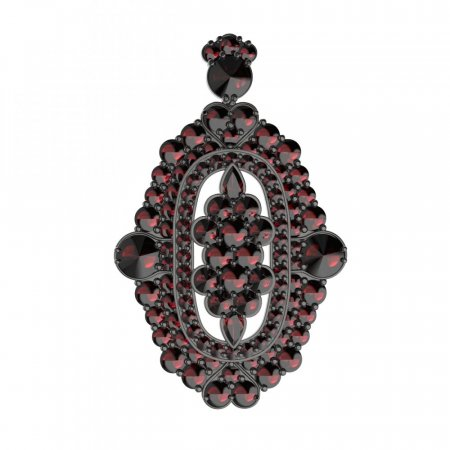 BG brooch 348 - Metal: Silver - gold plated 925, Stone: Moldavit and garnet