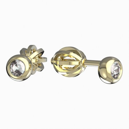 BeKid, Gold kids earrings -101 - Switching on: English, Metal: Yellow gold 585, Stone: Dark blue cubic zircon