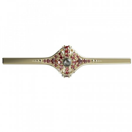 BG brooch 537K - Metal: Yellow gold 585, Stone: Garnet and Tahiti Pearl