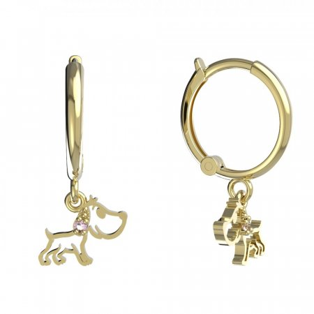 BeKid, Gold kids earrings -1159 - Switching on: Circles 12 mm, Metal: Yellow gold 585, Stone: Pink cubic zircon