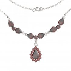 BG necklace with moldavite and garnet 254/186
