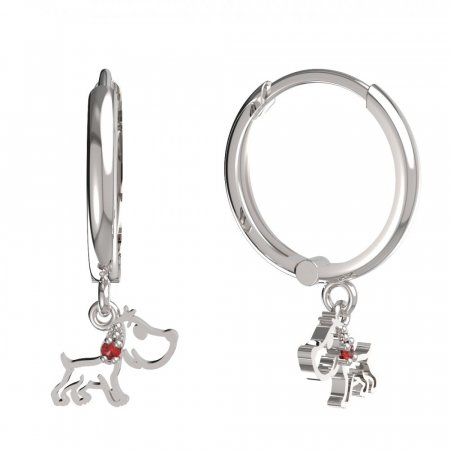 BeKid, Gold kids earrings -1159 - Switching on: Circles 15 mm, Metal: White gold 585, Stone: Red cubic zircon